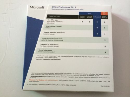 Home And Business Microsoft Office 2013 Retail Box Plus 2013 FULL Version 32 / 64bit