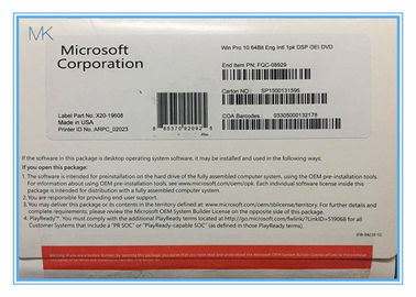 Cina Microsoft Windows Software Microsoft Windows 10 Pro Oem 64 Bit System Builder DVD pemasok